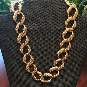 Hammered Gold Chain Link Necklace